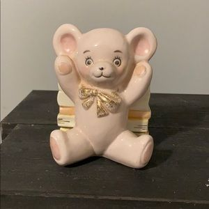 Stafford Pink Teddy Bear w/ Books Vintage Planter